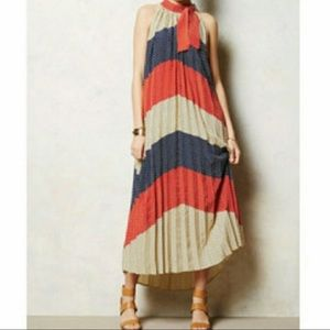 Anthropologie red blue cream polka dot maxi dress